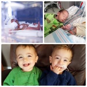 Twin preemie boys