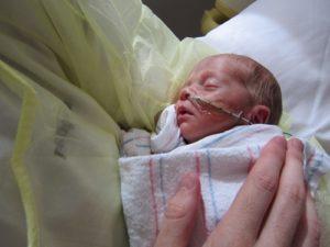 Parent holding small preemie baby